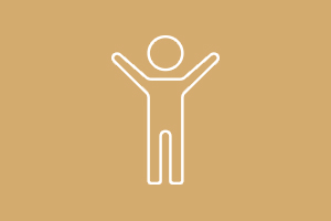 Animated person with hands up icon