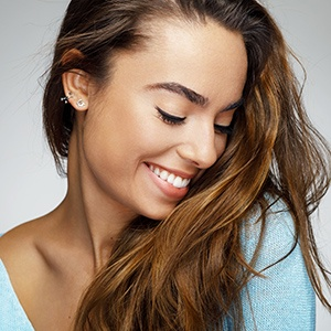 Woman with perfect & flawless smile & skin