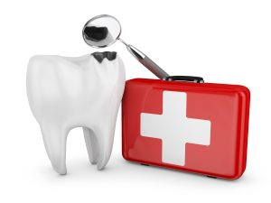 tooth beside red emergency kit