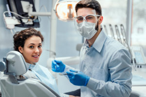 "A patient visits a dental practice after searching for a ""dentist near me"" on the internet."